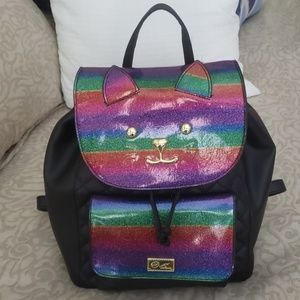 Luv Betsey Black Quilted Cat Backpack
